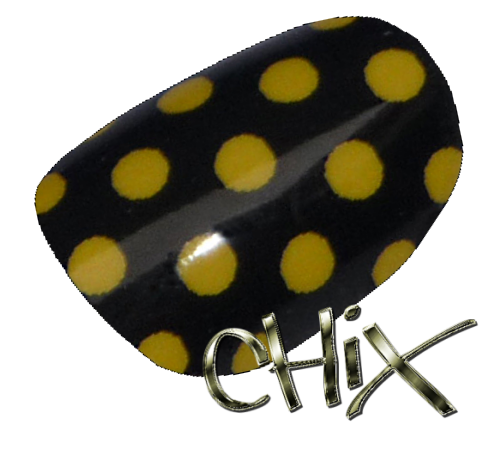 Yellow On Black Polka Dot